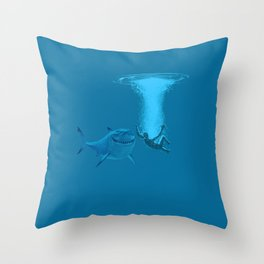 splashed and sharks Throw Pillow