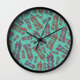 Pink and Peach Leaf Pattern Wall Clock