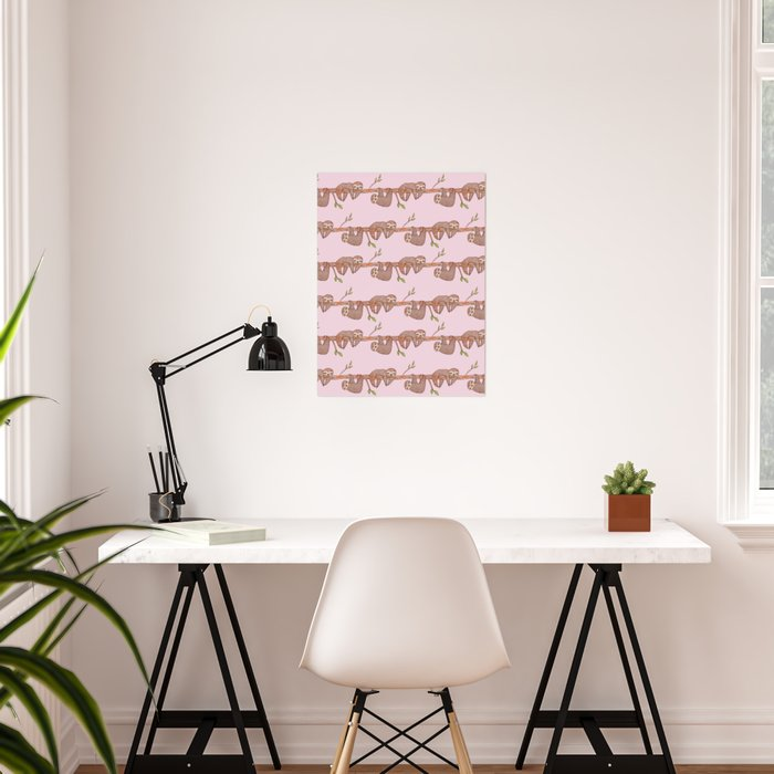 Lazy Baby Sloth Pattern in Pink Poster