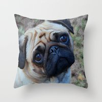 pug Throw Pillows featuring Pug by Whimsy Notions Designs