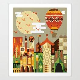 Hot air balloon ride trough the city Art Print