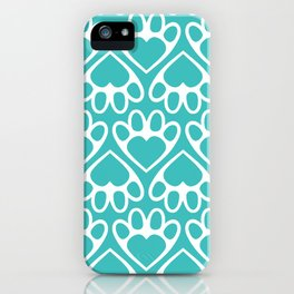 Paw Prints on my Heart - in Cyan iPhone Case
