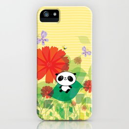 panda and flowers iPhone Case
