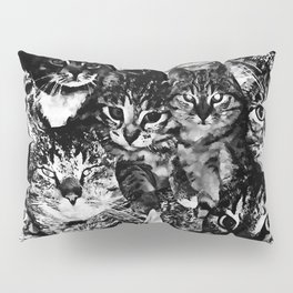 cat collage our beloved kitten cats watercolor splatters black white Pillow Sham