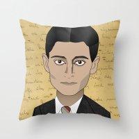 kafka Throw Pillows featuring Kafka by Pendientera