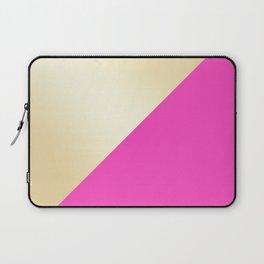 Modern hot pink & gold color block Laptop Sleeve