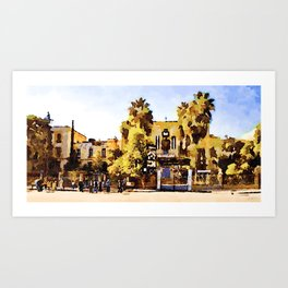 People waiting at bus station in Aleppo Art Print