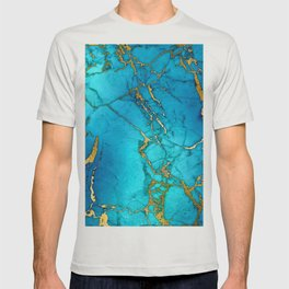 Gold And Teal Blue Indigo Malachite Marble T-shirt