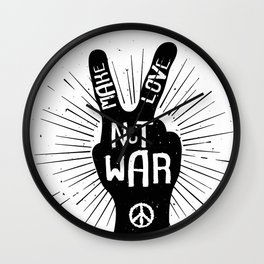 Peace make love not war Wall Clock