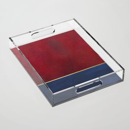 Deep Blue, Red And Gold Abstract Painting Acrylic Tray