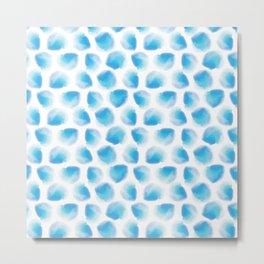 Ocean Blue watercolor Polka Dot Metal Print