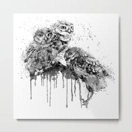 Three Cute Monochrome Owls Metal Print
