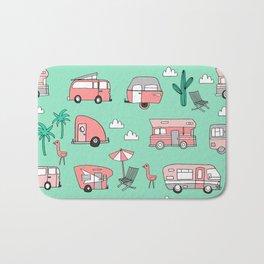 Camper summer vacation tropical pattern RV van life print by andrea lauren Bath Mat