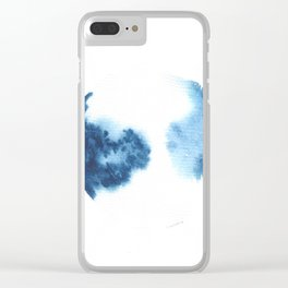 Watercolor Circle Abstract Simple | Blue Blob May 5 Clear iPhone Case