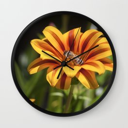 Beautiful Flower with Bee Wall Clock
