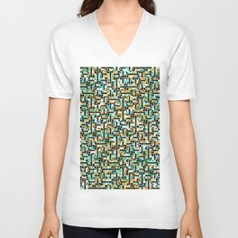 grid in brown and green with shapes Unisex V-Neck