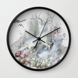 The Deer in My Forest Wall Clock