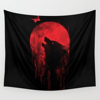 hunter Wall Tapestries featuring wolf hunter by Steven Toang