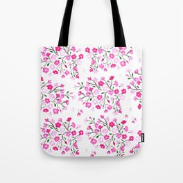 Pink Cherry Blossoms Hand Painted Tote Bag