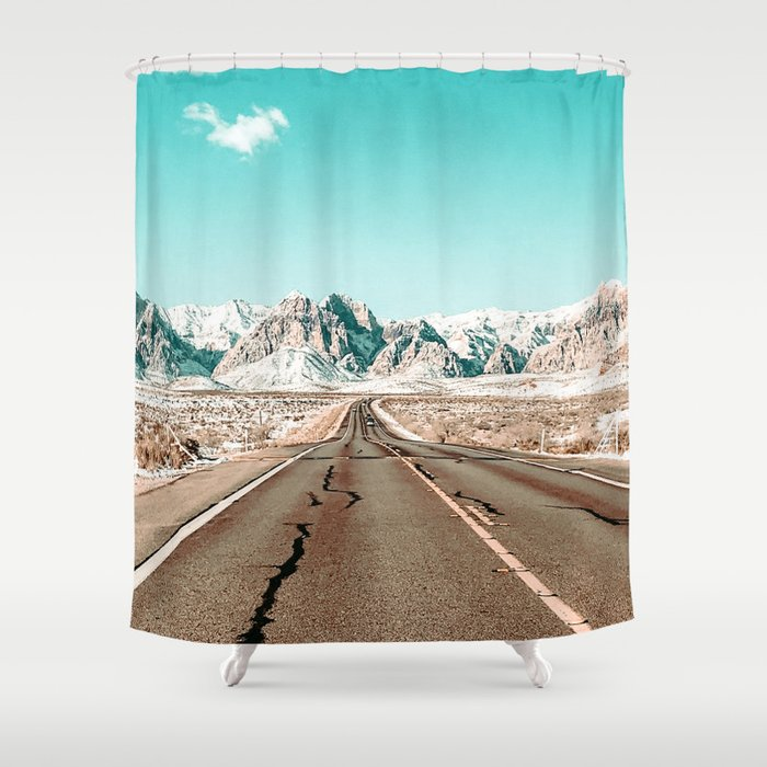 Vintage Desert Road // Winter Storm Red Rock Canyon Las Vegas Nature Scenery View Shower Curtain