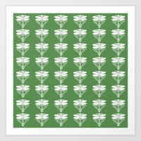 Glade Green Arts and Crafts Dragonflies Art Print