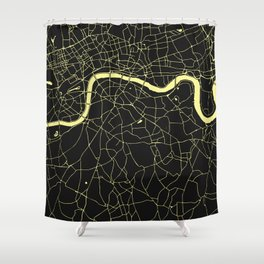 London Black on Yellow Street Map Shower Curtain