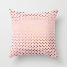 Princesslike- pink and gold elegant heart ornament pattern Throw Pillow