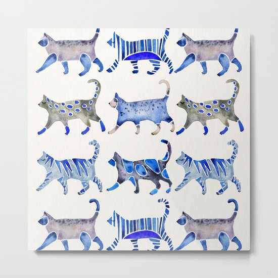 Cat Collection – Blue Palette Metal Print