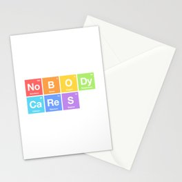 Nobody Cares - Periodic Table of Elements Rainbow Stationery Cards