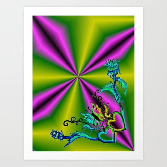 Heart with Butterfly and Flowers on purple and green Art Print