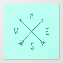 Find My Way \\ Teal Compass Art Canvas Print
