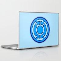 lantern Laptop & iPad Skins featuring Green Lantern: Blue Lantern by The Barefoot Hatter
