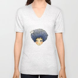 the girl with lamb hair Unisex V-Neck