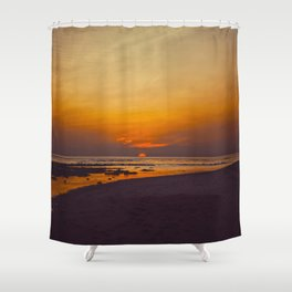 Vintage Sepia Orange Rustic Sunset Over The Ocean Shower Curtain