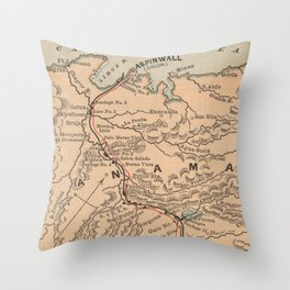 Vintage Map of The Panama Canal (1885) Throw Pillow