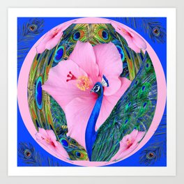 BLUE PINK HIBISCUS FLOWERS & BLUE-GREEN PEACOCK Art Print