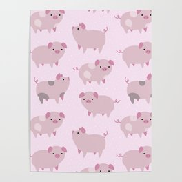 Cute Pink Piglets Pattern Poster