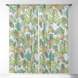 Tumbling Pineapples and Tropical Vibes Sheer Curtain