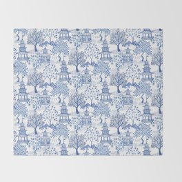 Pagoda Forest Blue and White Throw Blanket