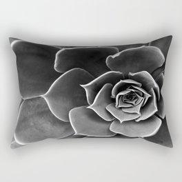 Black and White Succulent Rectangular Pillow