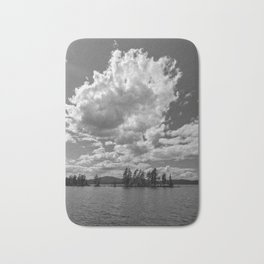 the needles in black and white Bath Mat