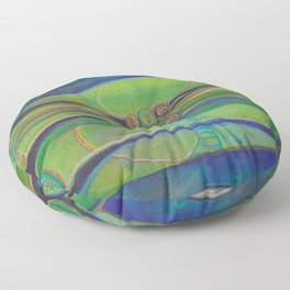 Blue Green Echo Floor Pillow