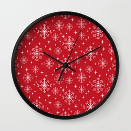 Snowflakes winter christmas minimal holiday red and white decor gifts Wall Clock