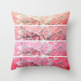 Van Gogh Almond Blossoms Deep Pink to Peach Collage Throw Pillow