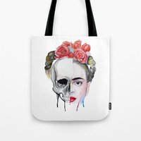 frida kahlo Tote Bags featuring Frida Kahlo  by Karol Gallegos Carrera