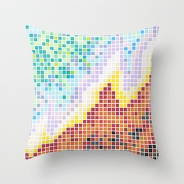 Pixelated Nebula Red Throw Pillow