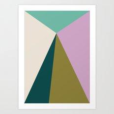 Purple Green Triangles Art Print