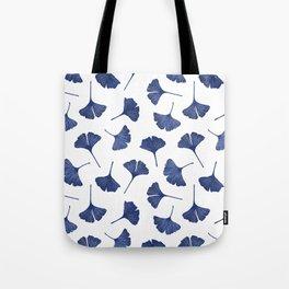 Blue Ginkgo Biloba Pattern Tote Bag