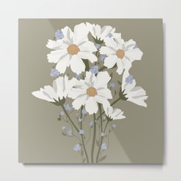 Forget Me Not & Cosmos Bouquet -- Green Metal Print