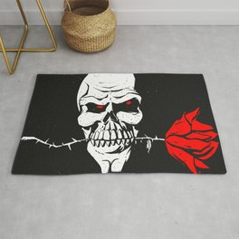 Skull with flower between teeth - halloween skull - skeleton cartoon - gothic illustration Rug